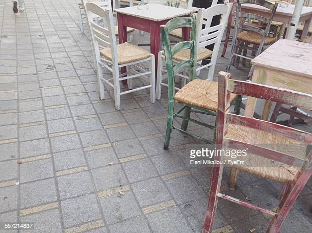 Empty Chair And Table At Outdoor Cafe
