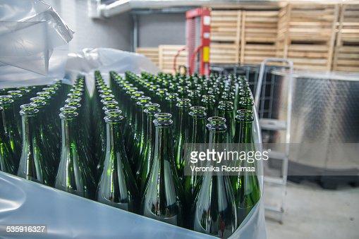 Em branco garrafas de champanhe : Foto de stock