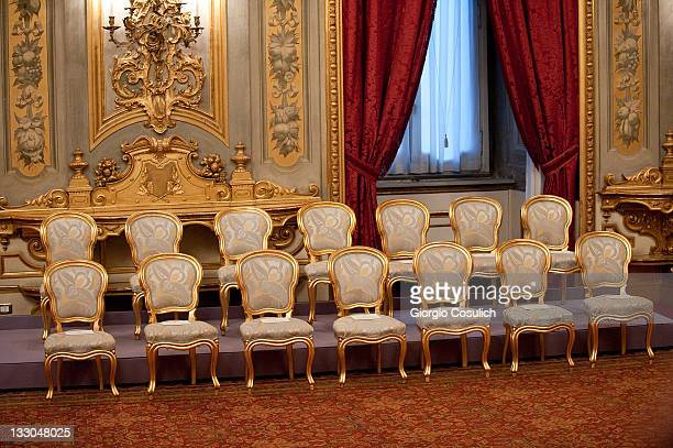 Empty chiars prior the swearing in ceremony at Quirinale Palace on November 16 2011 in Rome Italy Following the resignation of Italian Prime Minister...