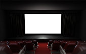empty cinema auditorium with blank screen frame illustration