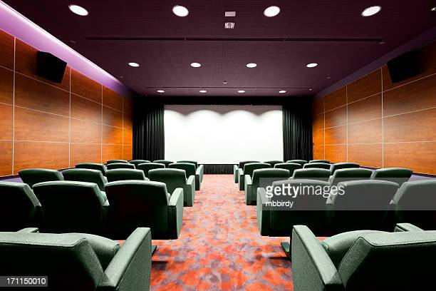 Empty cinema with seats and projection screen