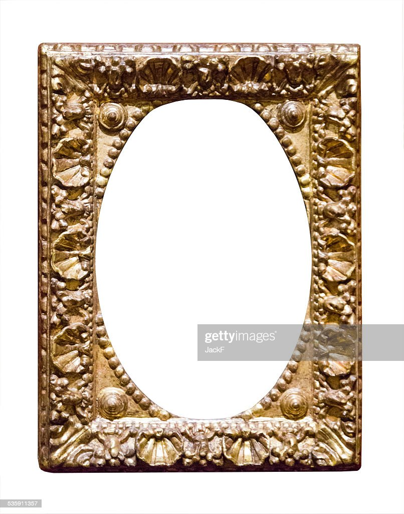empty classic golden picture frame : Stock Photo