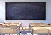 Empty classroom interior with student desk and chairs, 3D rendering