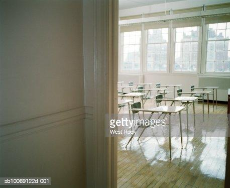 Empty classroom with desks : Stock Photo