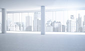 White empty office with bright outlook