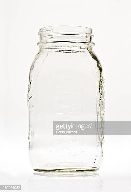 Empty Clear Glass Canning Jar