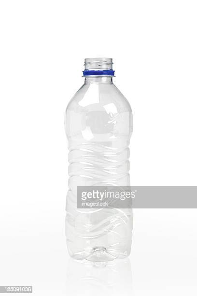 Empty clear plastic bottle on white
