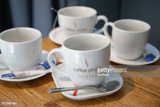 Empty coffee cups are seen at the Kamienica 12 culture house in Bydgoszcz Poland on 23 April 2017