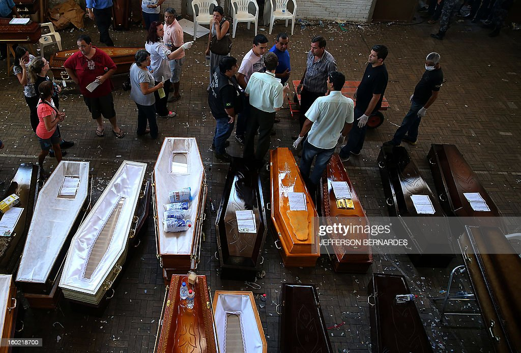 Empty coffins and coffins with the corpses of the victims of the Kiss night club fire, are laid out as the victims are are identified by relatives, at the municipal gymnasium on January 27, 2013 in Santa Maria. Brazilians were mourning the victims of a nightclub blaze in a small college town that left more than 230 people dead and over 100 injured, with many still fighting for their lives.