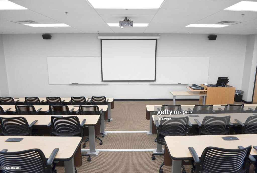 college classroom whiteboard. empty college or university classroom with whiteboard stock photo o
