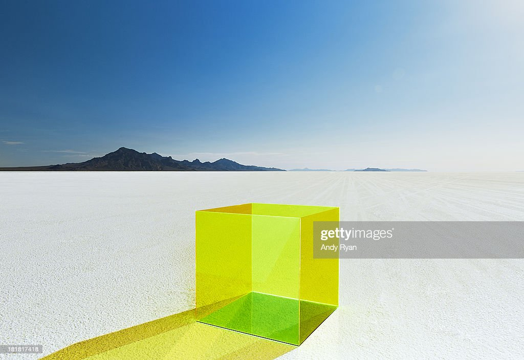 Empty colored box on salt flats.