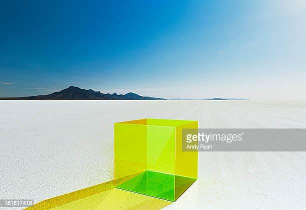 Empty colored box on salt flats.