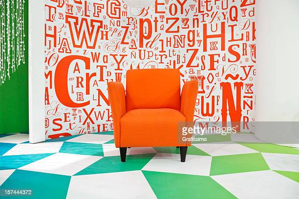 Empty colorful television studio decoration with armchair