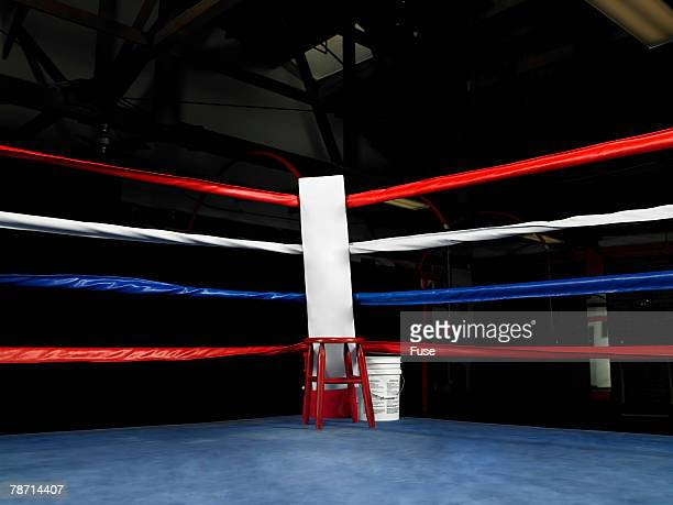 Empty Corner of Boxing Ring