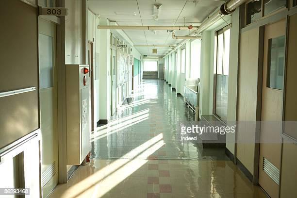 Empty corridor in school