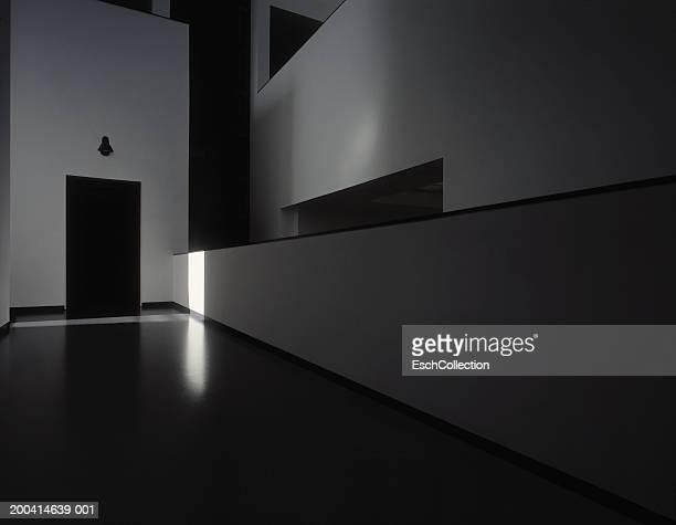 Empty corridor in shadows