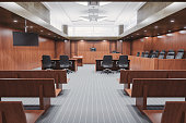 Interior of an empty courtroom.
