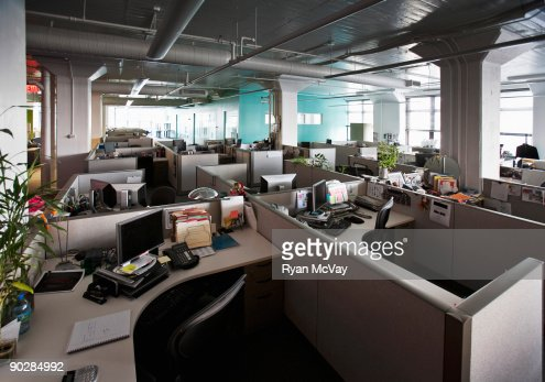Empty cubicles in office