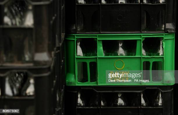 Empty Dairy Crest milk bottles in crates at the Failsworth depot in Failsworth Greater Manchester