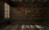 Empty dark old abandoned room with old cracked brick wall and old hardwood floor with volume light through window pane. Haunted room in dark atmosphere with dim light, 3D rendering