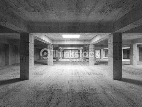 Empty Dark Abstract Industrial Concrete Interior 3d Illustratio Stock Photo