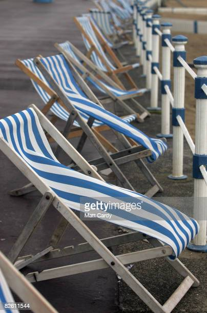Empty deckchairs remain unused at Weymouth seafront on August 31 2008 in Weymouth England Forecasters have claimed that this August has been one of...