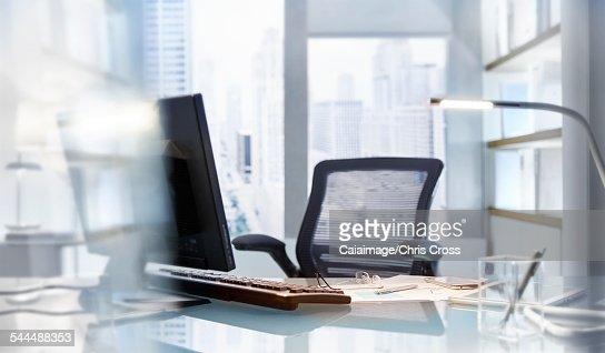 Empty desk in modern office