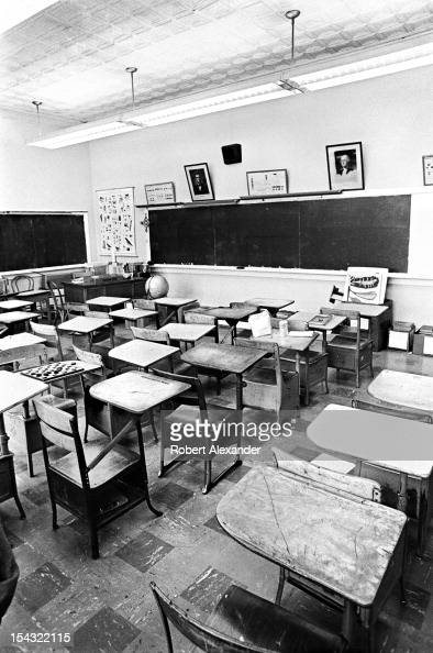 Empty desks await students for the last day of school at William King Elementary in the Appalachian town of Abingdon in rural Southwest Virginia...