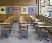 Empty desks in classroom