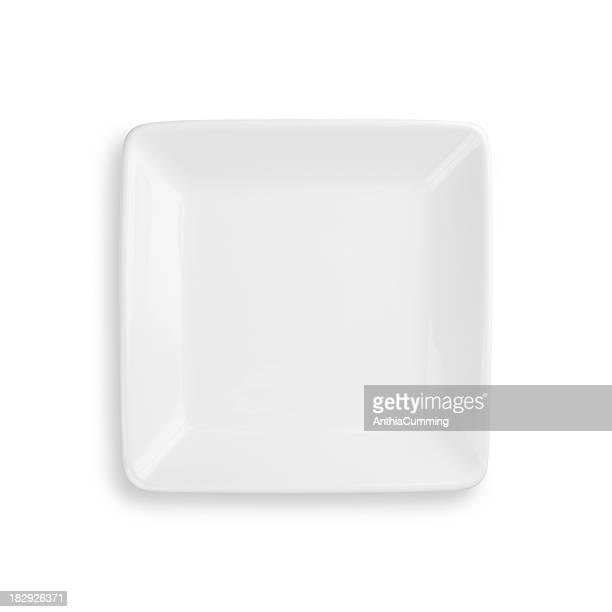 Vacío cena placa Aislado en blanco con trazado de recorte