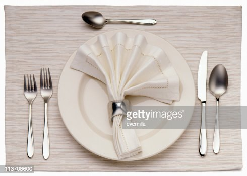 Empty Dinner Plate, Knife, and Fork
