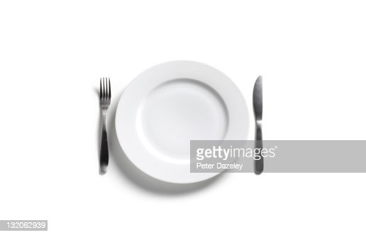 Empty dinner plate on white background