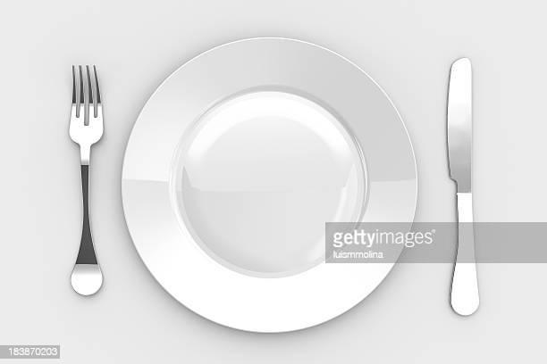 Leere Abendessen Platte, Messer und Gabel