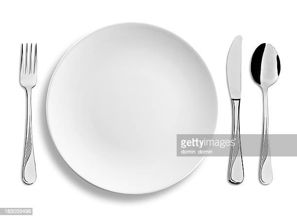 Empty dinner plate with steel cutlery isolated on white background