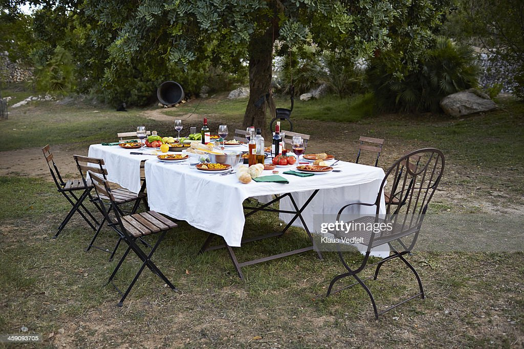 Empty dinner table standing outside at gardenparty
