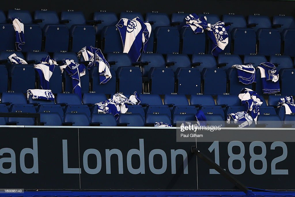 Empty directors box at half time during the FA Cup with Budweiser Fourth Round match between Queens Park Rangers and Milton Keynes Dons at Loftus Road on January 26, 2013 in London, England.
