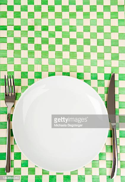 Empty dish, knife and fork