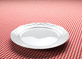 Empty Dish On The Checkered Tablecloth