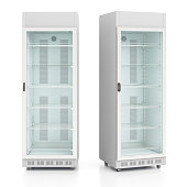 Two empty glass door display refrigerators. Isolated on white background include clipping path. 3d render