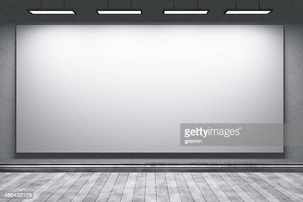 Empty education office room with big projection screen
