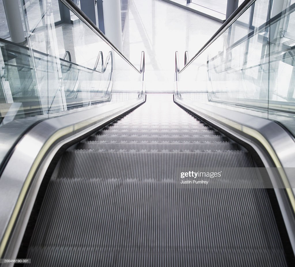 Empty escalator, elevated view : Stock Photo