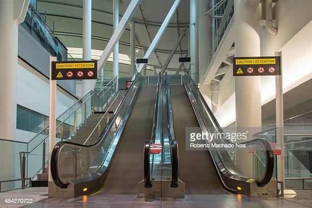 Empty escalators working at Pearson International Airport in Toronto Canada