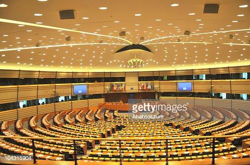 Empty European Parliament Assembly Room, Brussels, Belgium