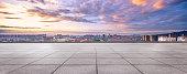 empty floor with cityscape of hangzhou in cloud sky