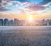 Empty floor and modern city skyline in wuhan,chinaEmpty floor and modern city skyline in wuhan,china