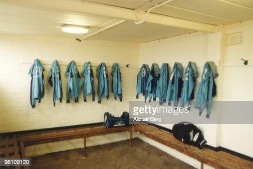 Empty football dressing room