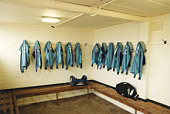 Empty football dressing room