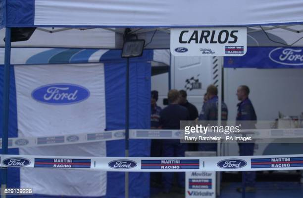 Empty Ford garage near Swansea for Carlos Sainz after the company had withdrawn their driver from the Network Q Rally