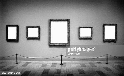 Empty frames in art gallery (Digital Composite, B&W) : Stock Photo