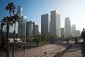 Empty freeway through downtown Los Angeles